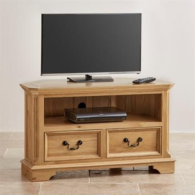 Remarkable Preferred Solid Oak Corner TV Cabinets Throughout Cardiff Natural Solid Oak Corner Tv Cabinet Edb032 Right Price (View 49 of 50)