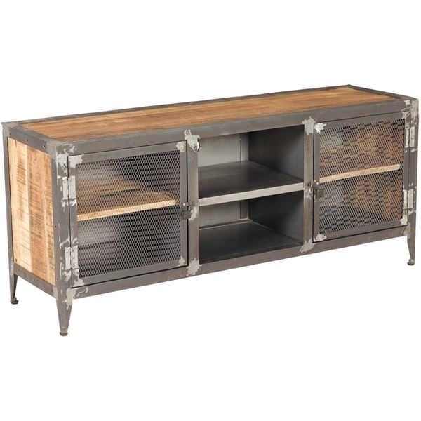 Remarkable Preferred Wooden TV Stands With Doors Regarding Vintage Industrial Iron And Wood Tv Stand Sie A9141 Afw Afw (Image 41 of 50)