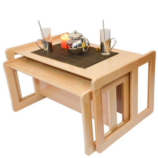 Remarkable Premium Beech Coffee Tables Intended For 3 In 1 Adults Multifunctional Nest Of Coffee Tables Set Of 2 Or (Image 44 of 50)