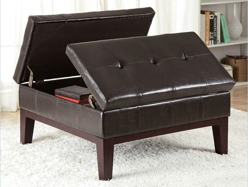 Remarkable Premium Brown Leather Ottoman Coffee Tables With Storages Pertaining To 36 Top Brown Leather Ottoman Coffee Tables (Image 27 of 40)
