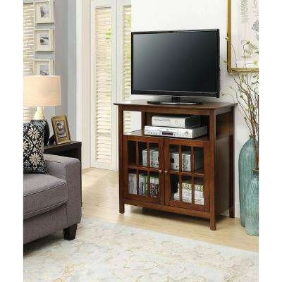 Remarkable Premium Dark Walnut TV Stands Intended For Medium Brown Wood Tv Stands Living Room Furniture The Home Depot (Image 43 of 50)