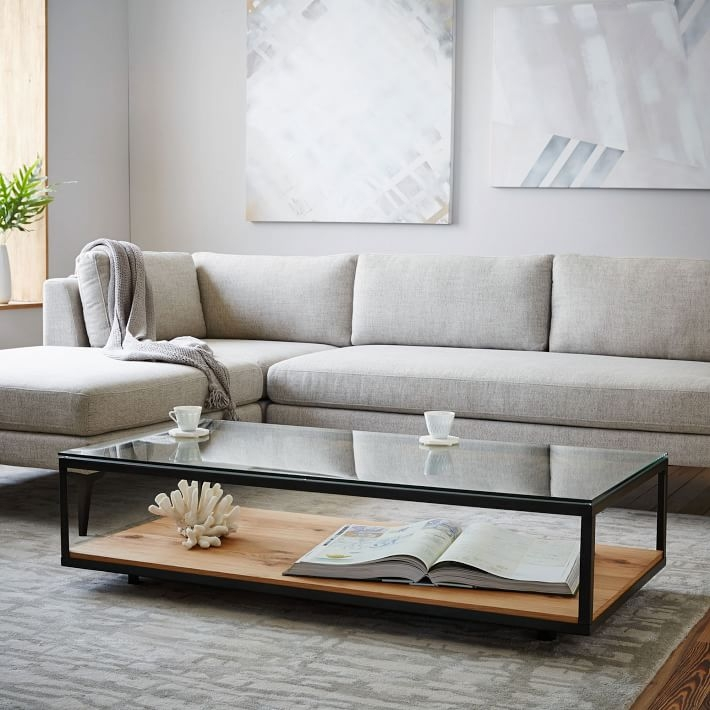 Remarkable Premium Glass And Black Metal Coffee Table Intended For Industrial Display Coffee Table West Elm (Image 36 of 50)