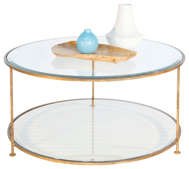 Remarkable Premium Glass And Metal Coffee Tables Regarding Worlds Away Iron Round Coffee Table With Beveled Glass Top Rollo (View 29 of 50)
