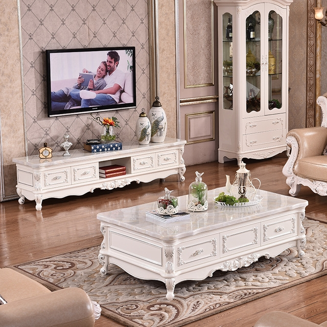 Remarkable Premium Gold TV Cabinets Regarding European Style Coffee Table Marble Tv Cabinet Combination Of Solid (Image 38 of 50)