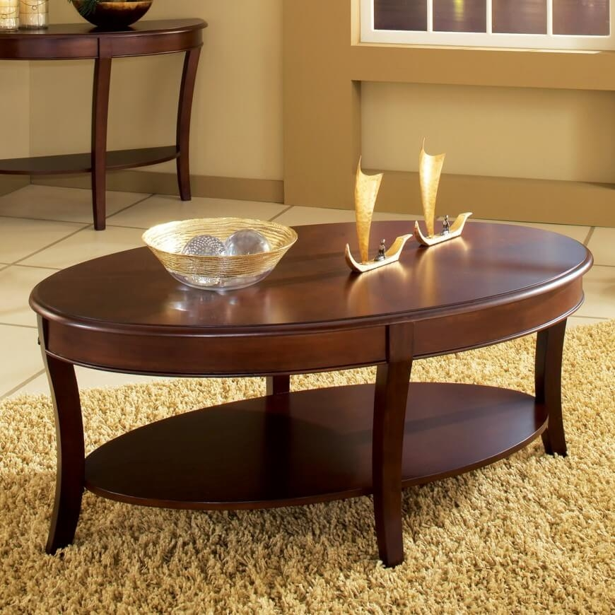 Remarkable Premium Oval Wooden Coffee Tables With Regard To Oval Wood Coffee Table (Image 38 of 50)
