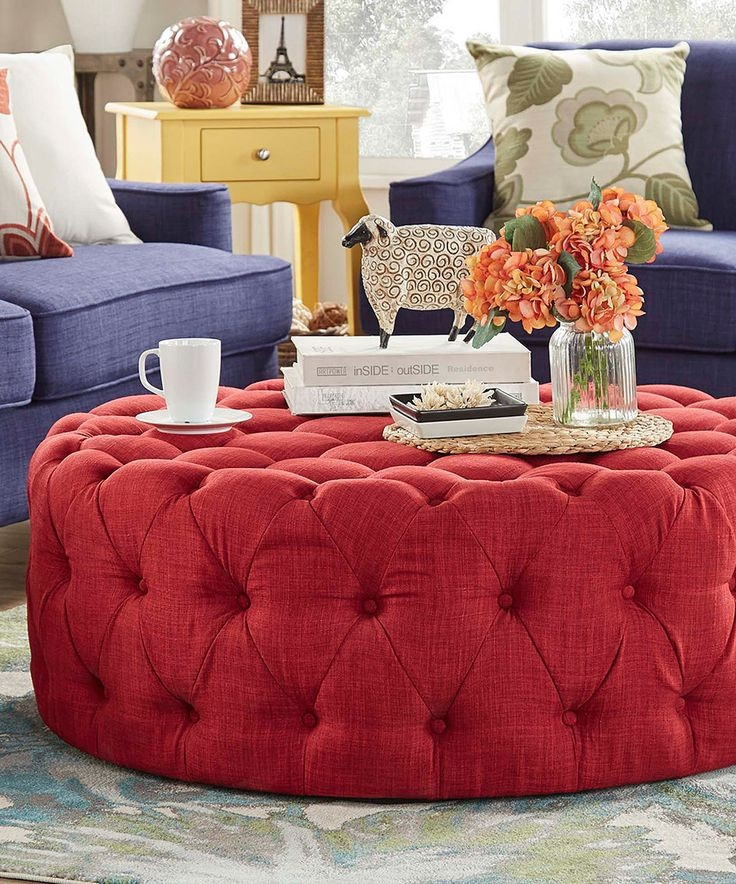 Remarkable Premium Round Red Coffee Tables With Best 25 Red Ottoman Ideas On Pinterest Living Room Red Black (View 31 of 50)