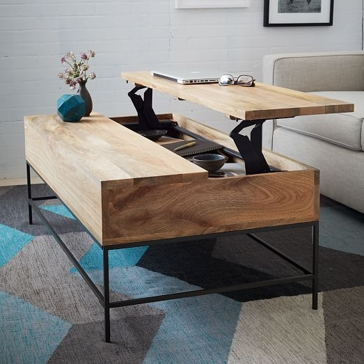 Remarkable Premium Storage Coffee Tables Inside Industrial Storage Coffee Table West Elm (View 2 of 50)