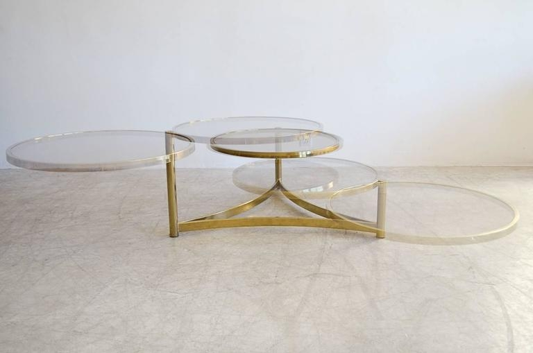 Remarkable Premium Swivel Coffee Tables Intended For Milo Baughman Tri Level Brass And Glass Swivel Coffee Table At 1stdibs (View 48 of 50)