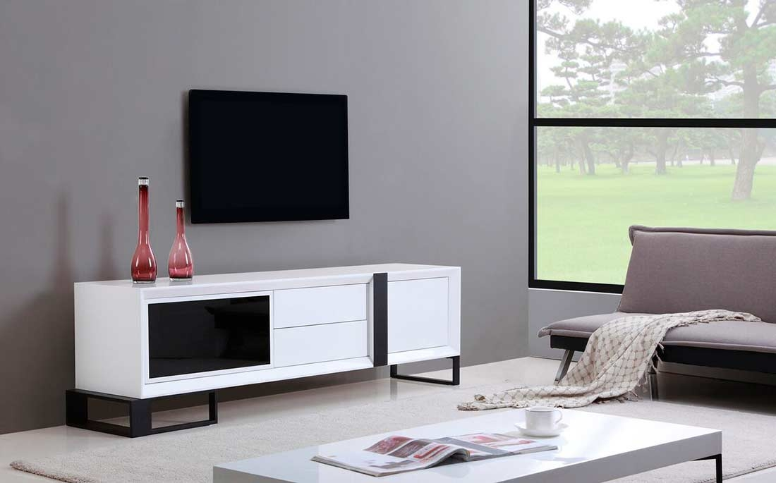 Remarkable Premium White And Black TV Stands For Extra Long Modern White Tv Stand Bm 36 Tv Stands (Image 41 of 50)