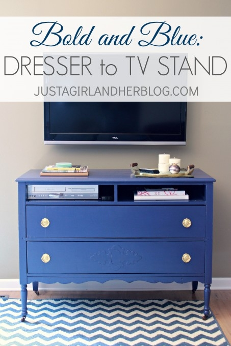 Remarkable Series Of Blue TV Stands Inside Bold And Blue A Dresser To Tv Stand Transformation Just A Girl (Image 39 of 50)