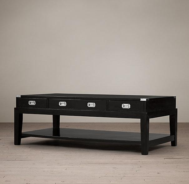Remarkable Series Of Campaign Coffee Tables Intended For Black Campaign Coffee Table (Image 37 of 50)