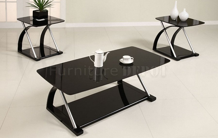 Remarkable Series Of Glass And Black Coffee Tables Pertaining To Black Living Room Table Set (Image 40 of 50)