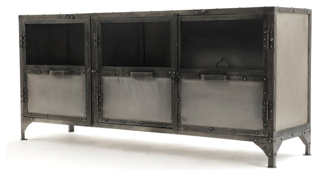 Remarkable Series Of Industrial Metal TV Cabinets Throughout 3 Door Metal Lcd Tv Stand Industrial Entertainment Centers And (Image 43 of 50)