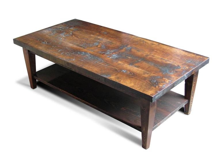 Remarkable Series Of Pine Coffee Tables Regarding Reclaimed Semi Rustic Pine Coffee Table With Bottom Shelf And (Image 42 of 50)