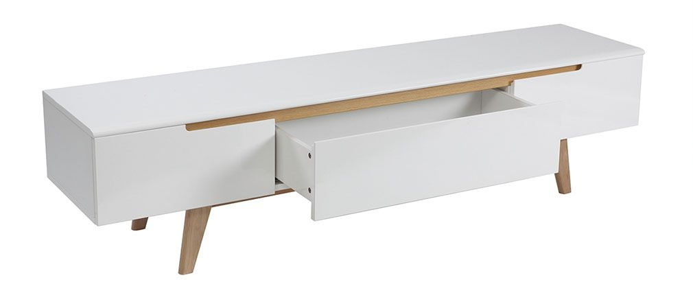 Remarkable Series Of Scandinavian TV Stands With Scandinavian Style Glossy White And Ash Tv Stand 180cm Melka Miliboo (Image 36 of 50)