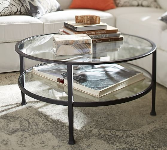 Remarkable Top Antique Glass Pottery Barn Coffee Tables With Tanner Round Coffee Table Bronze Finish Pottery Barn (Image 41 of 50)