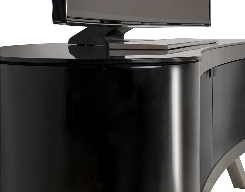 Remarkable Top Curve TV Stands Pertaining To Avf Bay Curved Tv Stand In Black (View 47 of 50)