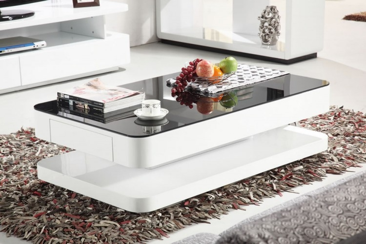 Remarkable Top High Gloss Coffee Tables Pertaining To Courbe 12m High Gloss Coffee Table Black Glass Drawer (Image 33 of 40)