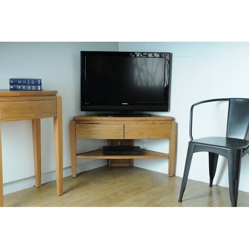 Remarkable Top Retro Corner TV Stands Pertaining To Grampian Furnishers Waldorf Oak Corner Tv Unit Bluebone (View 13 of 50)