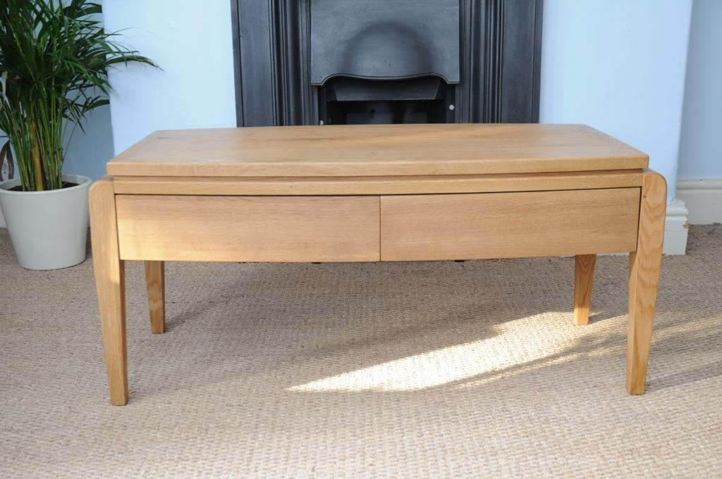 Remarkable Top Retro Oak Coffee Tables Within Retro Oak Coffee Table With 4 Drawers Hampshire Furniture (View 15 of 50)