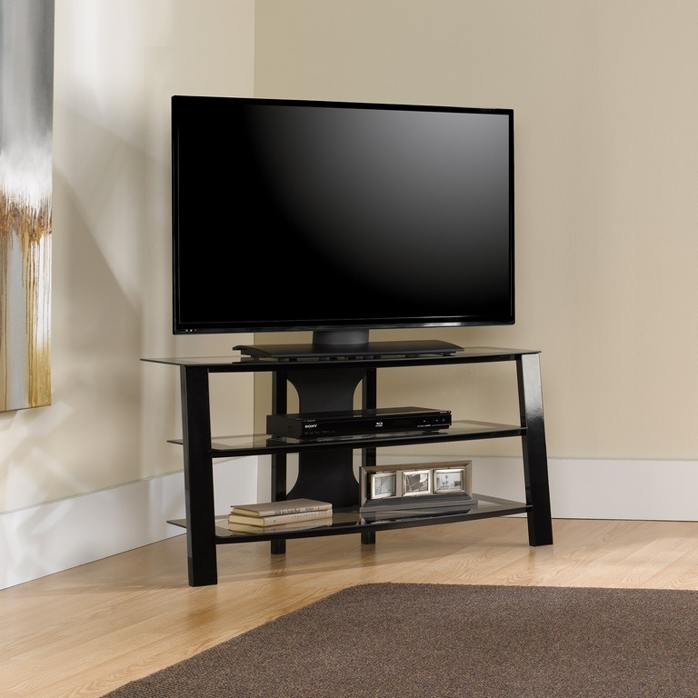 Remarkable Top Swivel Black Glass TV Stands Pertaining To Glass Front Tv Stand (Image 41 of 50)