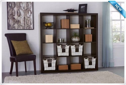 Remarkable Top TV Stands And Bookshelf In Espresso 16 Cube Wood Organizer Modern Shelf Bookcase Bookshelf (View 23 of 50)