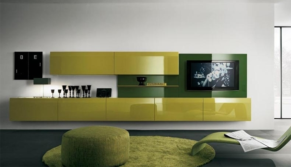 Remarkable Top Yellow TV Stands With Black And White Tv Stand With Wall System Ideas (View 27 of 50)