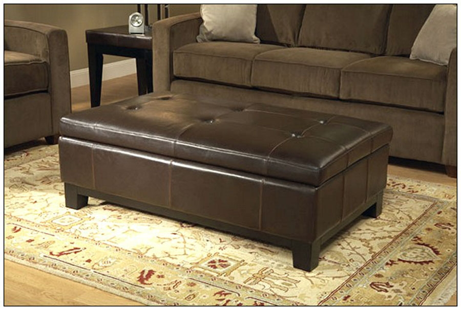 Remarkable Trendy Brown Leather Ottoman Coffee Tables With Storages With Brown Leather Ottoman Coffee Table 4 Tray Top Espresso Brown (Image 29 of 40)