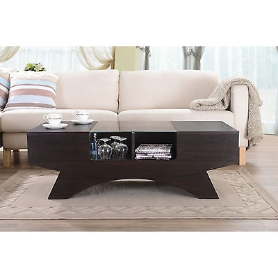 Remarkable Trendy Coffee Tables With Shelves Regarding Modern Coffee Table Wood 4 Display Shelves Glass Top Side Storage (Image 41 of 50)