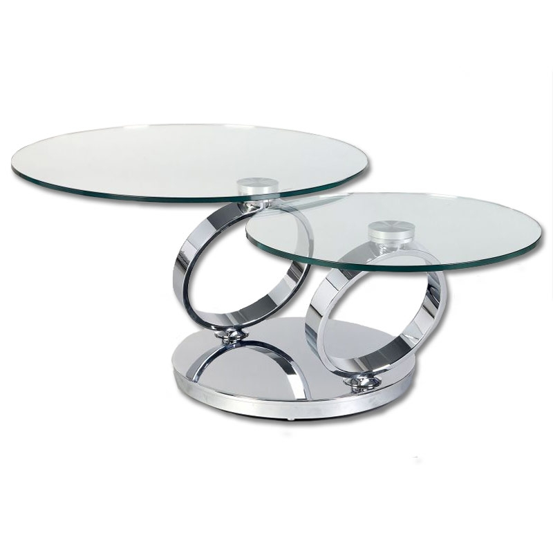 Remarkable Trendy Glass Circular Coffee Tables Throughout 2 Levels Swivel Round Glass Coffee Table Buy Glass Coffee Tables (Image 45 of 50)