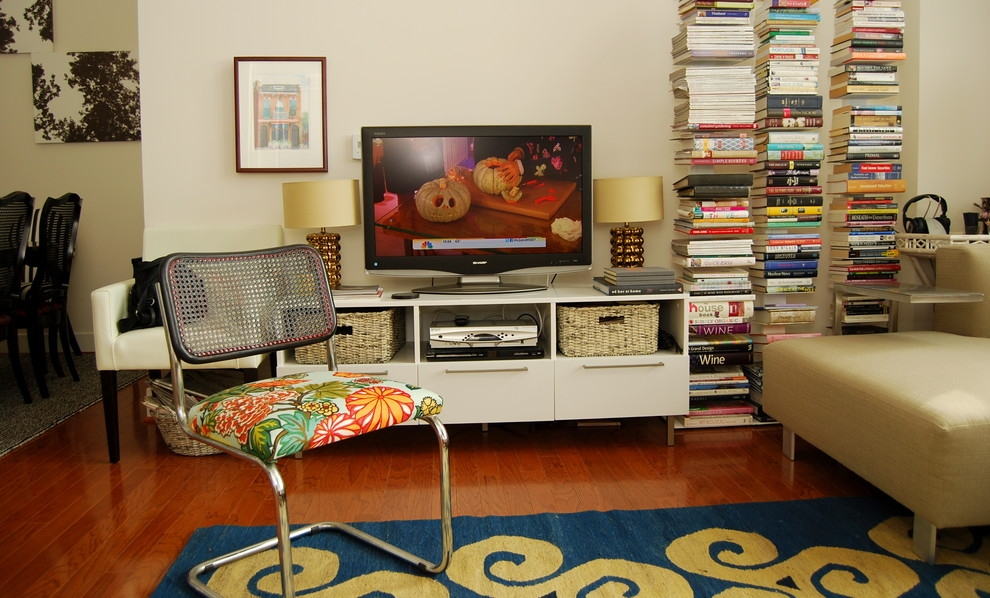 Remarkable Trendy TV Stands With Bookcases Intended For Credenza Tv Stand Living Room Eclectic With Area Rug Bold Colors (Image 40 of 50)