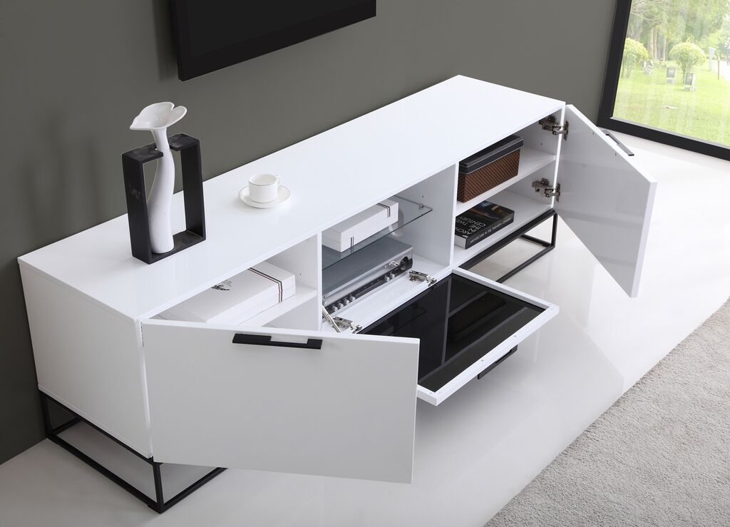Remarkable Trendy White Gloss TV Stands In Animator Tv Stand High Gloss White B Modern Modern Manhattan (Image 41 of 50)