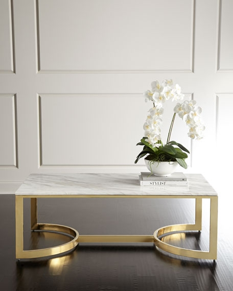 Remarkable Trendy White Marble Coffee Tables Intended For Marble Mirrored Coffee Tables At Neiman Marcus Horchow (View 22 of 50)