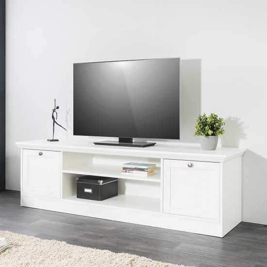 Remarkable Trendy White Wooden TV Stands Inside Country Wooden Tv Stand In White With 2 Doors  (Image 38 of 50)