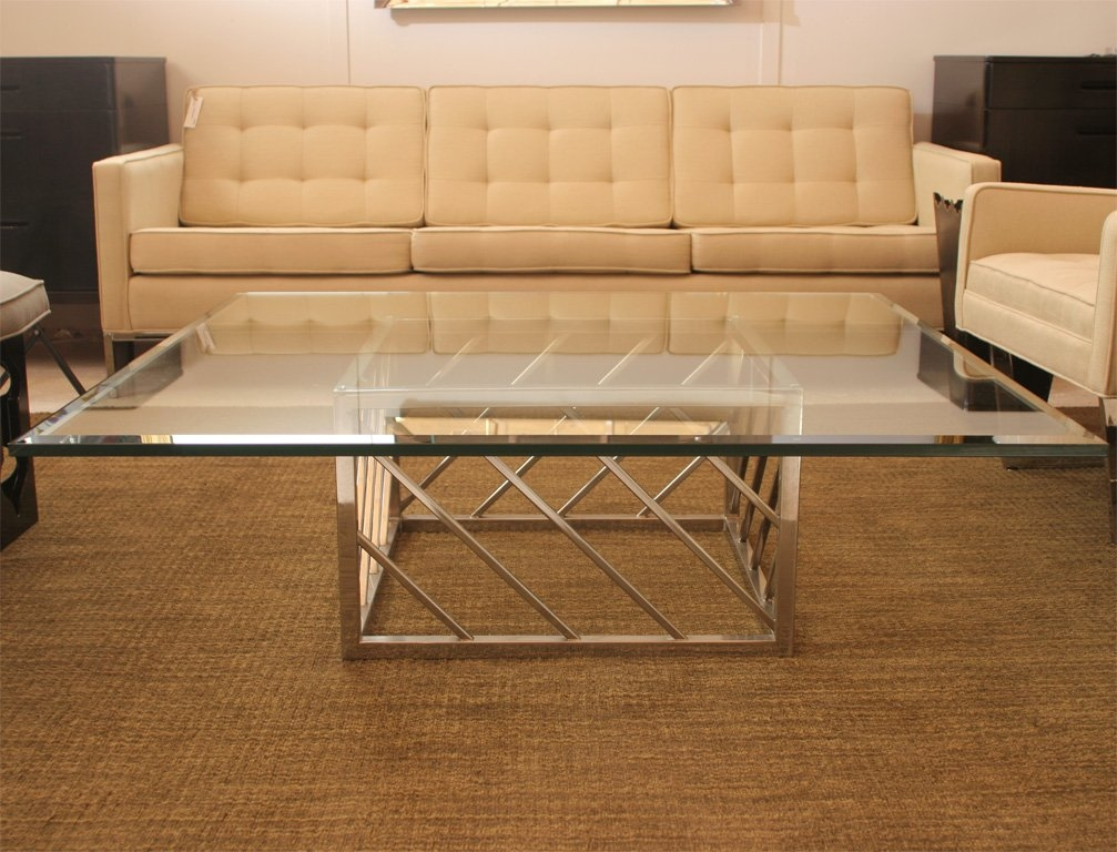 Remarkable Unique Chrome And Glass Coffee Tables With Regard To Large Chrome And Glass Coffee Table For Sale At 1stdibs (Image 38 of 50)