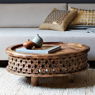 Remarkable Unique Dark Mango Coffee Tables For Carved Wood Coffee Table West Elm (Image 32 of 40)