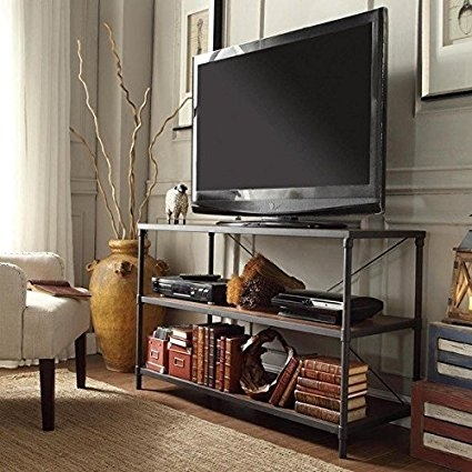 Remarkable Unique Industrial TV Stands Pertaining To Amazon Tribecca Home Harrison Industrial Rustic Pipe Frame Tv (Image 41 of 50)
