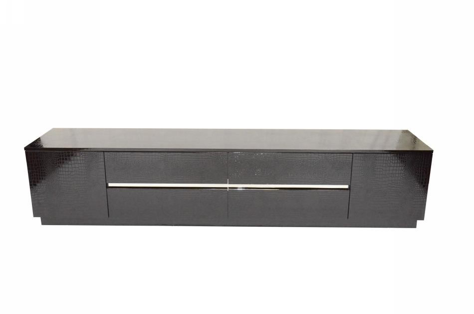 Remarkable Unique Modern Black TV Stands Intended For Black Crocodile Texture And Lacquer Tv Unit Detroit Michigan Vsky (View 21 of 50)