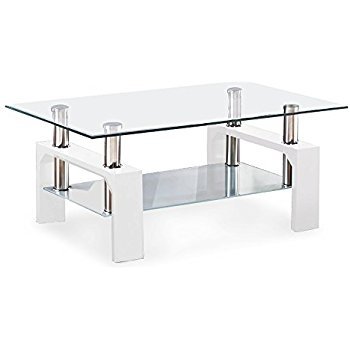 Remarkable Unique White And Glass Coffee Tables Throughout Amazon Global Furniture Clearfrosted Occasional Coffee Table (View 25 of 40)