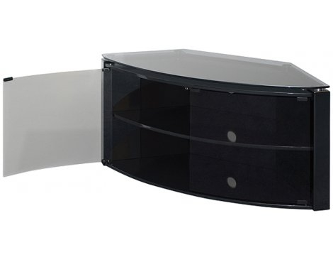 Remarkable Variety Of Black TV Stands With Glass Doors In Techlink Bench Piano Black Corner Tv Stand With Glass Doors Ebay (Image 40 of 50)