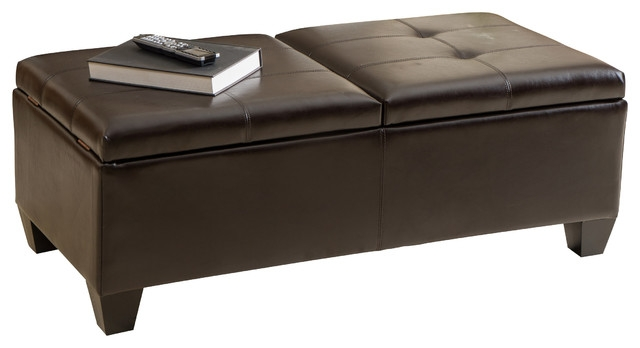 Remarkable Variety Of Brown Leather Ottoman Coffee Tables With Storages For Alpine Leather Storage Ottoman Coffee Table Transitional (Image 30 of 40)