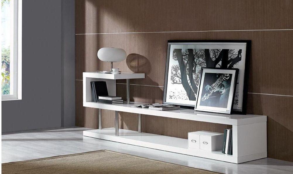 Remarkable Variety Of Contemporary TV Stands Pertaining To Contemporary White Lacquer Tv Stand Dayton Ohio Vwin (Image 42 of 50)