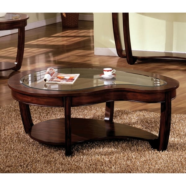 Remarkable Variety Of Curve Coffee Tables Regarding Furniture Of America Curve Dark Cherry Glass Top Coffee Table (Image 42 of 50)