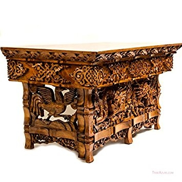 Remarkable Variety Of Dragon Coffee Tables With Amazon Hand Carved Altar Table Small Meditation Puja Sheesham (Image 44 of 50)