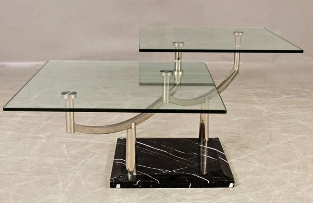 Remarkable Variety Of Glass And Stone Coffee Table Within Two Tiered Glass Coffee Table With A Chrome Frame Stone Base For (Image 38 of 50)