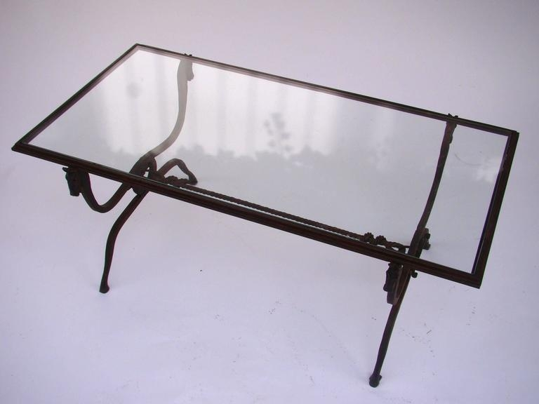 Remarkable Variety Of Iron Glass Coffee Table Pertaining To French Horse Head Wrought Iron And Glass Coffee Table Jean (View 33 of 50)
