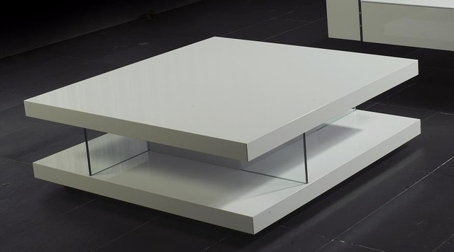 Remarkable Variety Of Square White Coffee Tables Regarding Design Modern High Gloss White Coffee Table With Black Glass Top (View 11 of 50)