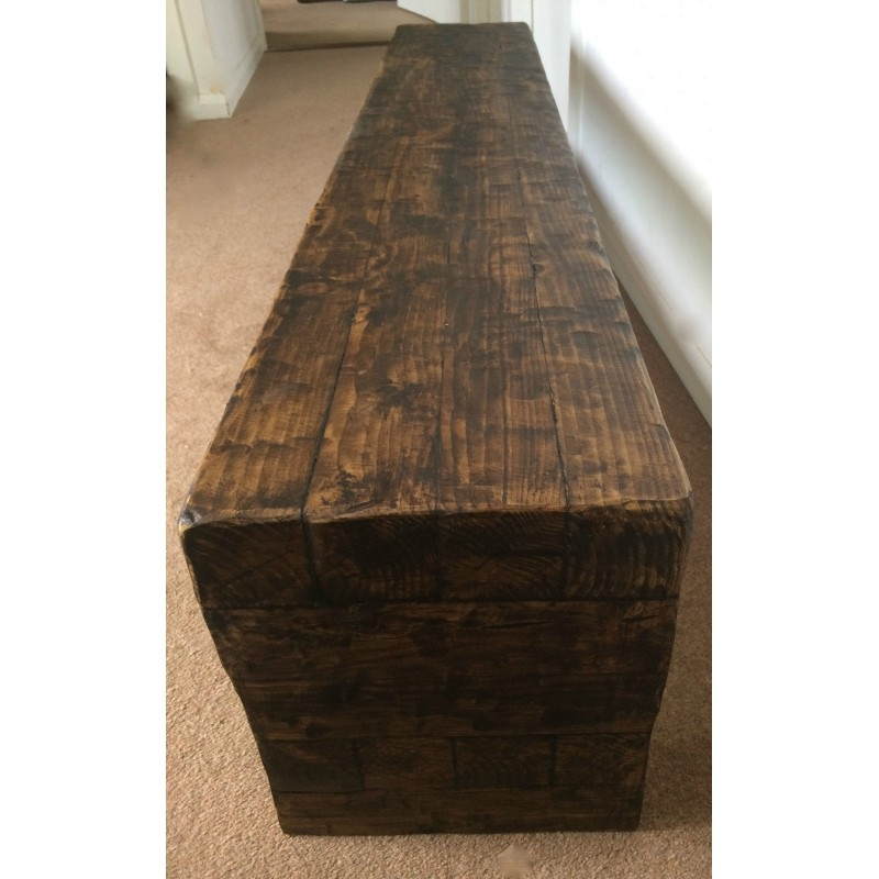 Remarkable Wellknown Chunky TV Cabinets Pertaining To Tv Stand Chunky Rustic Side Table Wooden Sleeper 150cm Cabinet Lcd (Image 35 of 50)