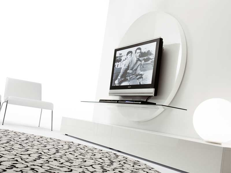 Remarkable Well Known Contemporary White TV Stands Intended For Contemporary Round Black White Tv Stands From Pacini (View 10 of 50)