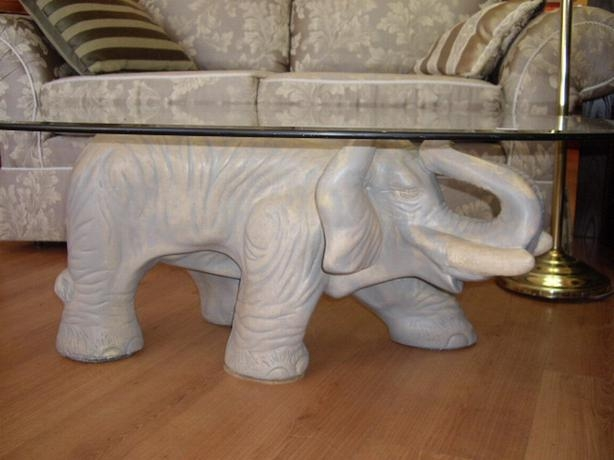 Remarkable Wellknown Elephant Glass Coffee Tables Within Fabulous Elephant Coffee Table With Oval Glass Top Chemainus Cowichan (Image 35 of 40)